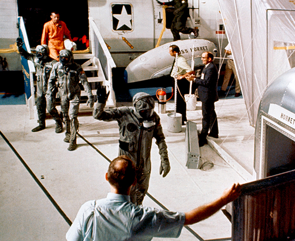 Apollo astronauts walking unaided following space flight